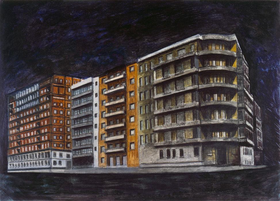 Isolato, 1994, olio e pastelli su carta intelata, 50x70 cm