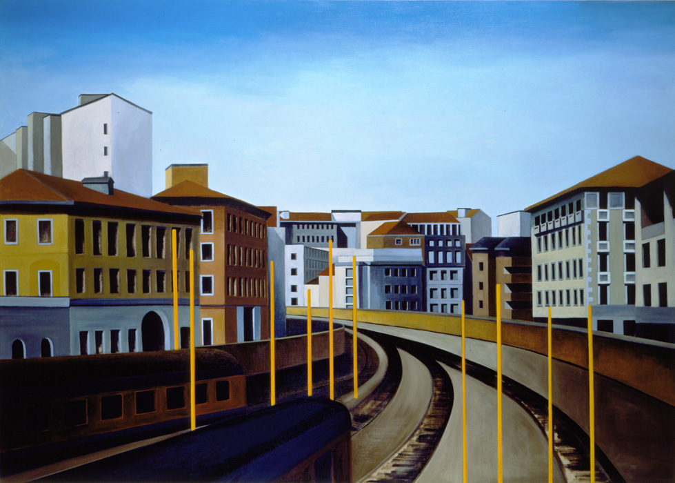 Città, 1997, olio su tela, 163 x 230 cm