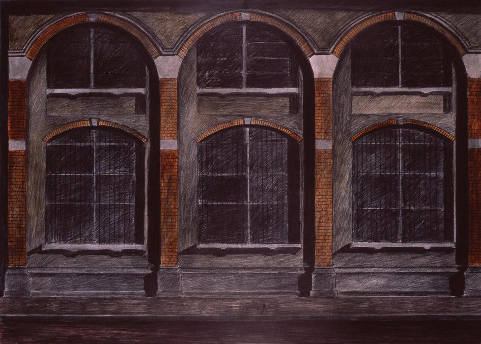 Deposito, 1992, carboncino e olio su carta intelata, 70x100 cm