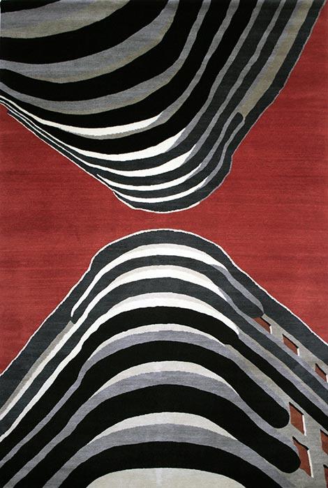 Marco Petrus -Upside down 2011- tappeto realizzato in Nepal, qualità Shakti annodato a mano cm 169x253, lane filate e cardate a mano