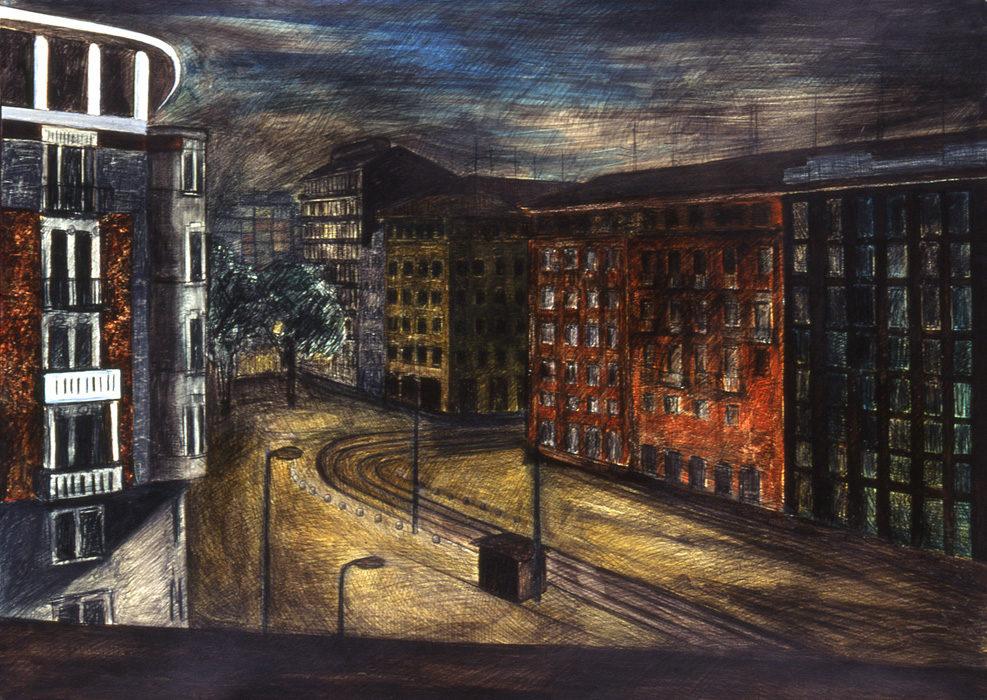 Notturno A81, 1993, olio e carboncino su carta intelata, 100x140 cm