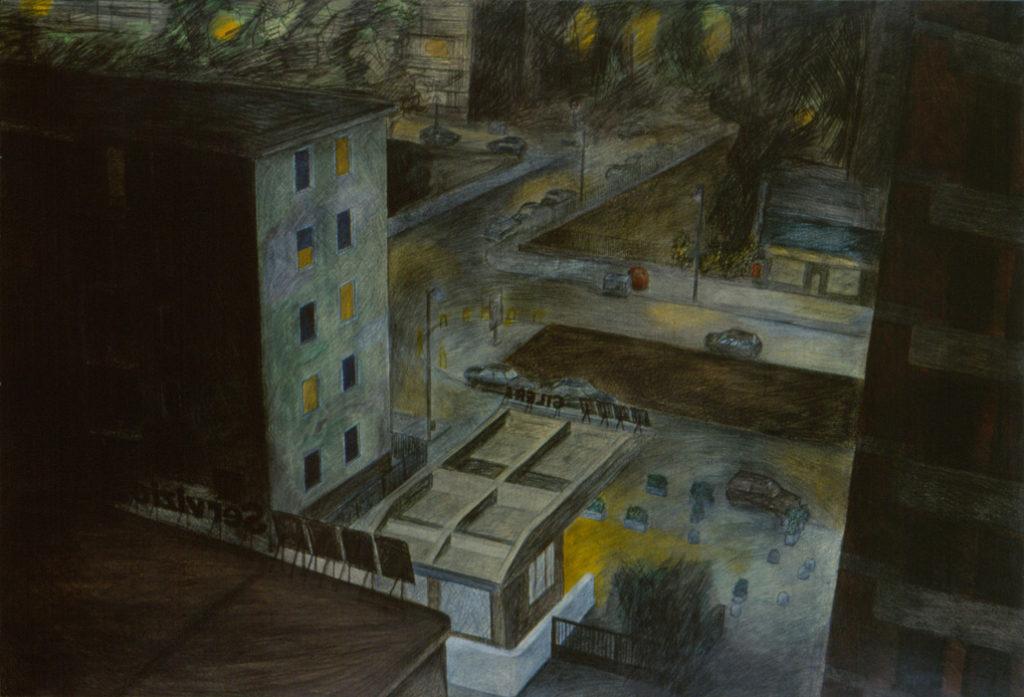 Periferia, 1991, olio e pastelli su carta intelata, 100x148 cm