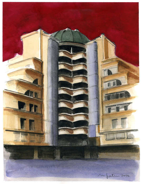 Via Salasco, 2012, acquerelli su carta, 22x17 cm